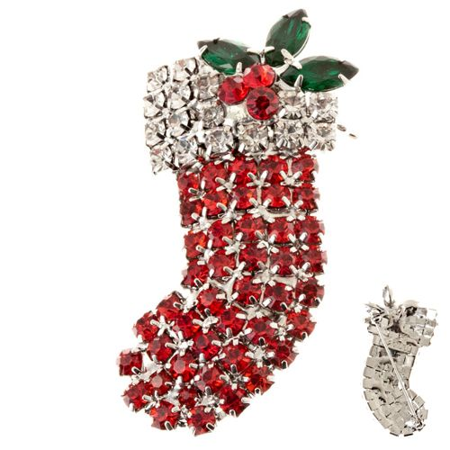 Christmas Jewelry Red Socks Silver Tone Crystal Rhinestone Charm Pin