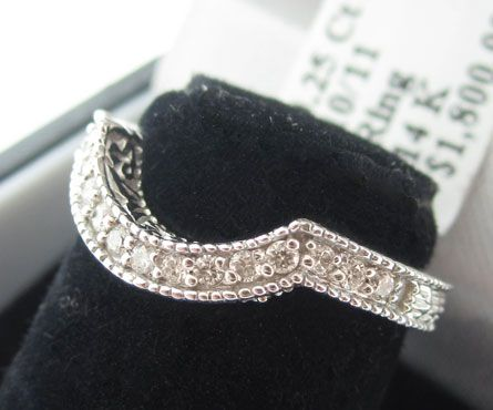 14K WHITE GOLD DIAMOND RING ENHANCER WRAP CURVED BAND INSERT GUARD