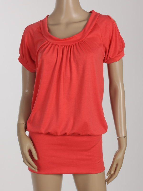 OPEN SHOULDER LONG TOP T SHIRT DRESS RED SZ S 985