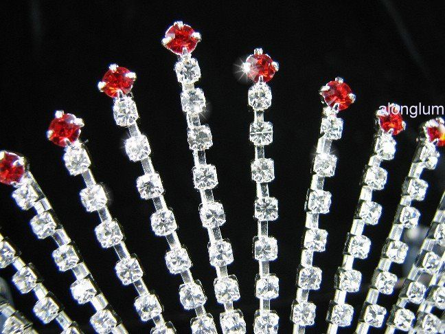 A51 8 Red Wedding Bridal Bridesmaid Party Swarovski Crystal Rhinestone