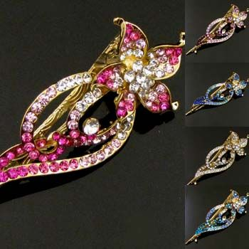 , 1pc Austrian rhinestone crystal flower hair clamp clip