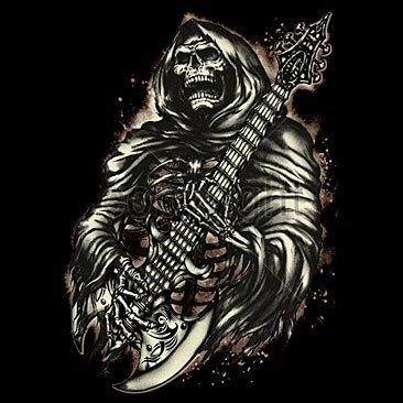 GRIM REAPER Guitar Tattoo Art T Shirt ALL SIZES To 5X