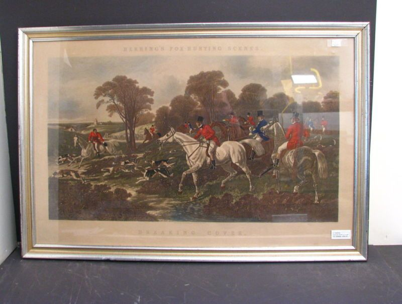 Engraved By J Harris Color Print English Fox Hunting  Breaking Cover