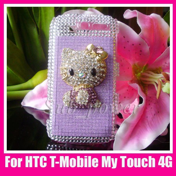kitty Bling Crystal Case cover for HTC T Mobile mytouch 4G B11