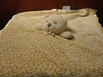 Security Blanket Bear Brown Cheetah Leopard Print Baby Plush Stuffed