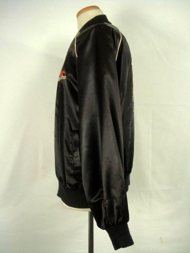 Vintage HARLEY DAVIDSON Black Satin Zip Up Jacket XL