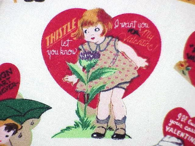 50s 60s valentines day card PILLOW retro vintage fabric