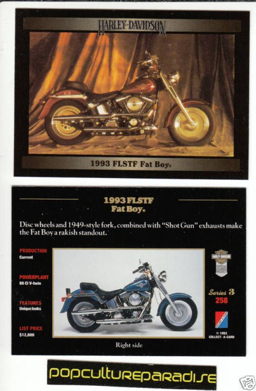 1993 HARLEY DAVIDSON FLSTF FAT BOY BIKE MOTORCYCLE CARD